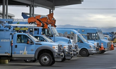 Pacific Gas & Electric vehicles in Oakland, California.