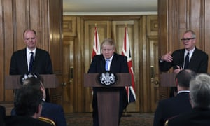 Boris Johnson is flanked by chief medical officer Chris Whitty and chief scientific adviser Patrick Vallance at a press conference on the government's Covid-19 response