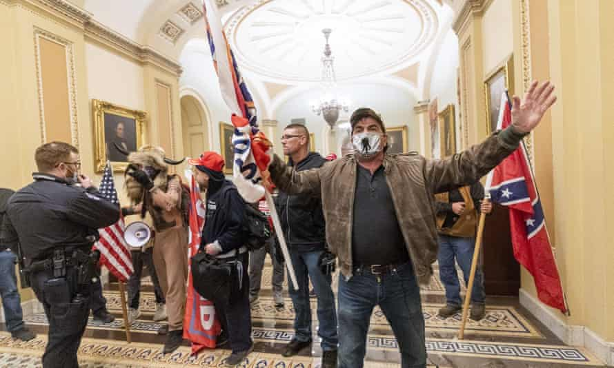Pro-Trump supporters inside the Capitol building in Washington