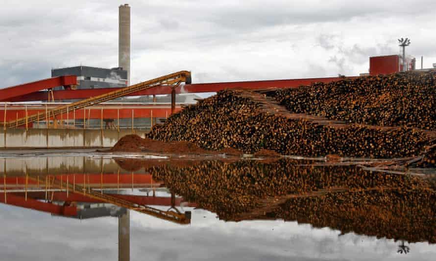 Logs outside a paper mill in Kajaani, Finland