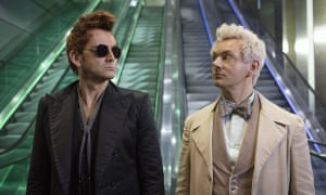 David Tennant and Michael Sheen in Amazon's forthcoming Terry Pratchett adaptation Good Omens.