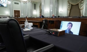 Twitter CEO Jack Dorsey testified remotely during a Senate Commerce, Science, and Transportation Committee hearing with big tech companies on 28 October.