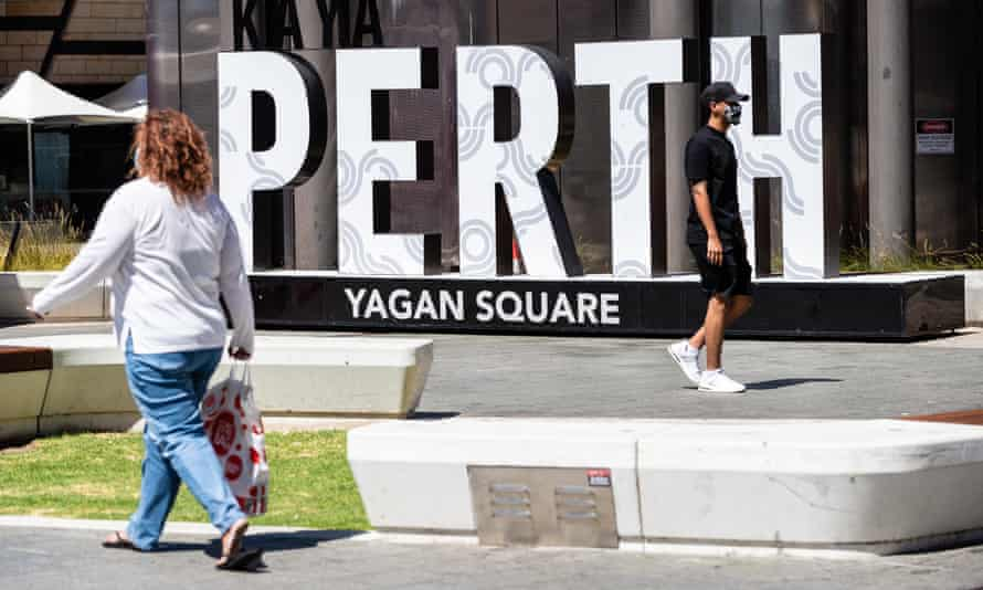 Members of the public wearing face masks in Yagan Square, in Perth