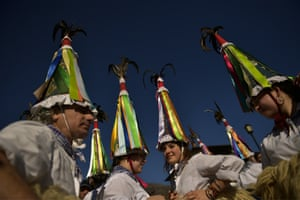 A group of Joaldunaks called Zanpantzar, take part in the Carnival between the Pyrenean villages of Ituren and Zubieta