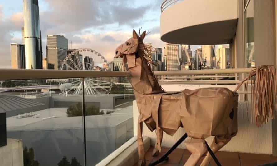 David Marriott's paper horse taking in the Brisbane view.
