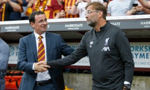 Bradford manager Gary Bowyer shakes hands with Jürgen Klopp during the recent pre-season friendly with Liverpool.