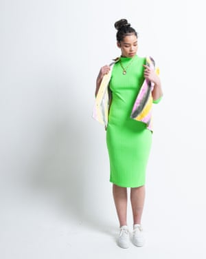Model wears  wears jacket, £430, ganni.com. Dress, £12, boohoo.com. Trainers, £139, whistles.com