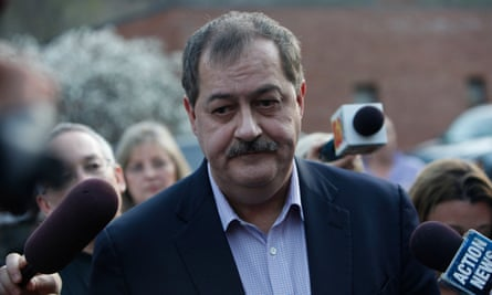Massey Energy Co., CEO Don Blankenship speaks to reporters, Tuesday, April 6, 2010, in Montcoal, W.Va. The blast Monday at Massey's Upper Big Branch mine _ the nation's deadliest mining disaster since at least 1984 _ was believed to have been caused by a buildup of highly combustible methane. (AP Photo/Haraz N. Ghanbari)