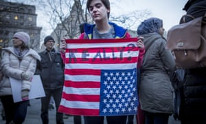 Protesters against the travel ban in New York.
