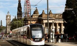 Edinburgh TramsA tram on Princes Street in Edinburgh.