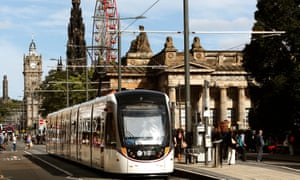 A tram on Princes Street in Edinburgh.