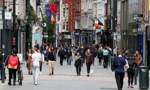 People on Grafton Street in Dublin.