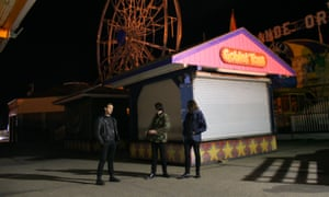 The band Pop. 1280 at a fairground
