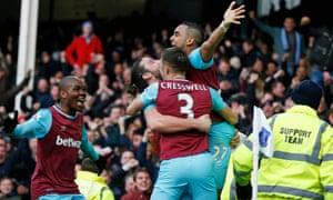 Dimitri Payet celebrates after scoring West Ham's winner.