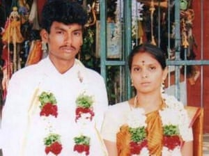 Dalit youth Shankar and his Thevar wife Kausalya at the time of their marriage.