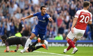 Pedro celebrates opening the scoring in Chelsea's 3-2 win over Arsenal when the teams last met in August at Stamford Bridge.