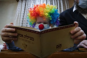 A man reads the Book of Esther in Maryina Roshcha in Moscow