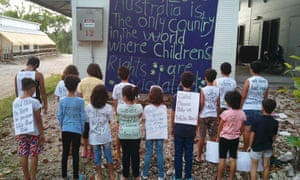 Children protest in the Nauru detention centre. The Nauru files set out as never before the assaults, sexual abuse, self-harm attempts, child abuse and living conditions endured by asylum seekers held by the Australian government.