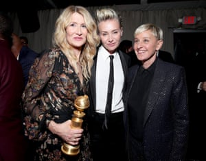 Laura Dern, winner of best supporting actress for her role in Marriage Story, with Portia de Rossi and Ellen DeGeneres at the Netflix afterparty