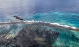 An aerial view taken last week shows a large patch of leaked oil off the coast of south-east Mauritius