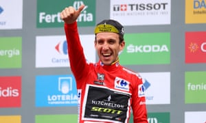 Simon Yates celebrates after stage 20 of the Vuelta a España, victory in which all but sealed the biggest race victory of his career so far.
