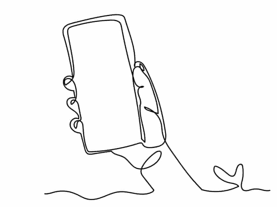 Continuous one line drawing of of hand holding a smartphone.