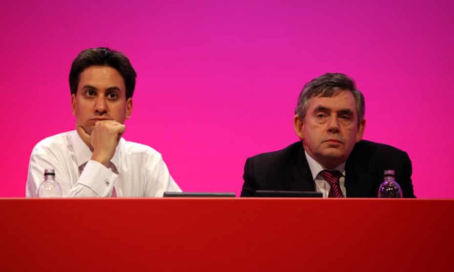 Ed Miliband and Gordon Brown at the 2009 Labour party conference in Brighton