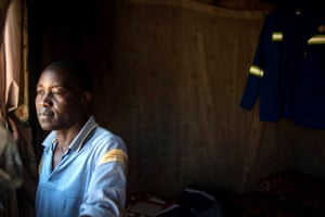 Zebedias Xerinda, 53, married with five children in his one-bedroom house in Marikana