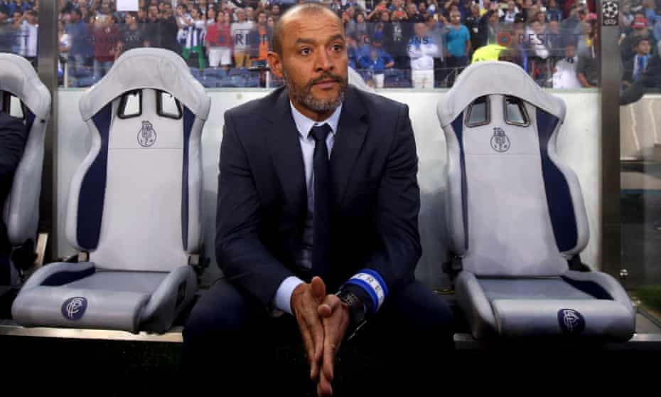 Porto's head coach Nuno Espírito Santo in the Porto dugout where he spent most of his time as a player. His side face Leicester City in the Champions League on Tuesday.