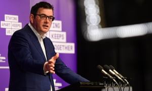 Victorian premier Daniel Andrews speaks to the media in a daily Covid update.