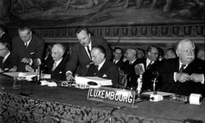 The signing of the Treaty of Rome in 1957.