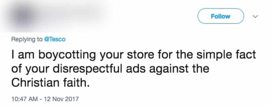 A tweet threatening to boycott Tesco over their Christmas advert