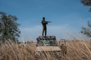 A ranger stands guard on a vehicle during an elephant collaring exercise at Pendjari national park, near Tanguieta, where a telemetric monitoring system aims to help authorities combat poaching
