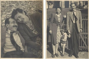 Michele Hanson's parents Adolf and Clarice (left); the family on holiday near Barrow-in-Furness in Cumbria, about 1945-6