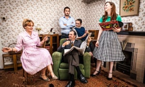 The Ashby-Hawkins family with Giles Coren in BBC2's Back in Time for the Weekend.