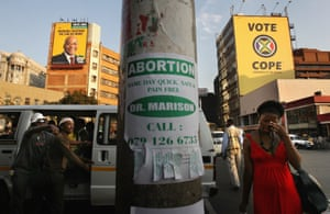 Advert for same-day abortion on a Johannesburg street