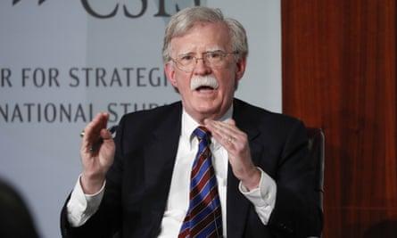 John Bolton speaking at the Center for Strategic and International Studies in Washington.