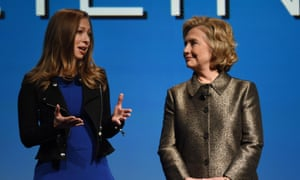 Hillary Clinton and her daughter Chelsea speak during a women's equality event on Monday.