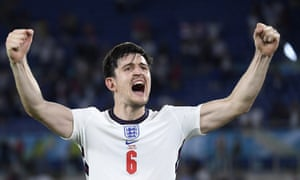 England's Harry Maguire celebrates at the end of the match.