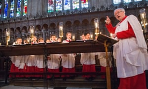 Stephen Cleobury and the King's College Choir in Cambridge rehearsing for the Christmas Eve service of A Festival of Nine Lessons and Carols'.
