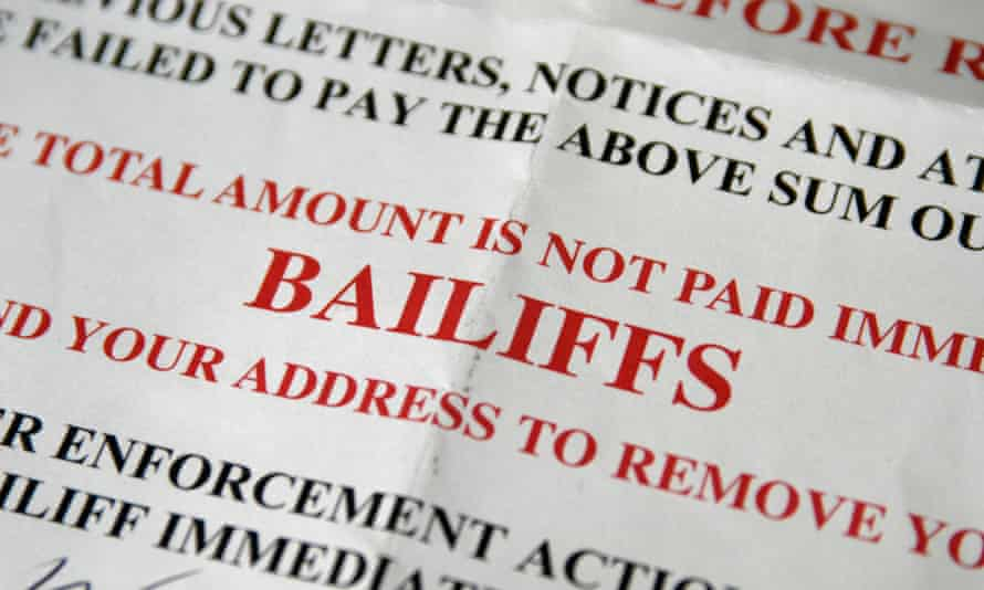 a bailiff enforcement notice in big red letters