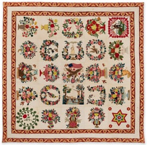 Album quilt, about 1847–50, by Mary Heidenroder Simon (American, born in Lucktersbach, Bavaria, 1810)