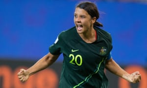 Australia's Sam Kerr celebrates her fourth goal.