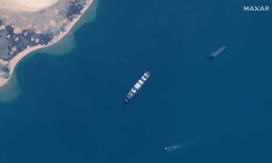 The Ever Given cargo vessel in the Great Bitter Lake on the Suez canal