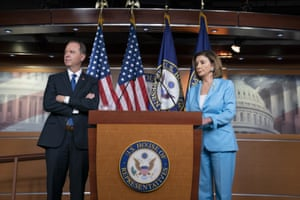 Nancy Pelosi, the House speaker, is joined by the House intelligence committee chairman, Adam Schiff, at a news conference as House Democrats move ahead in the impeachment inquiry on 2 October.
