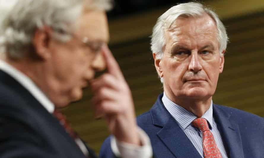 David Davis and Michel Barnier in Brussels, 10 November.