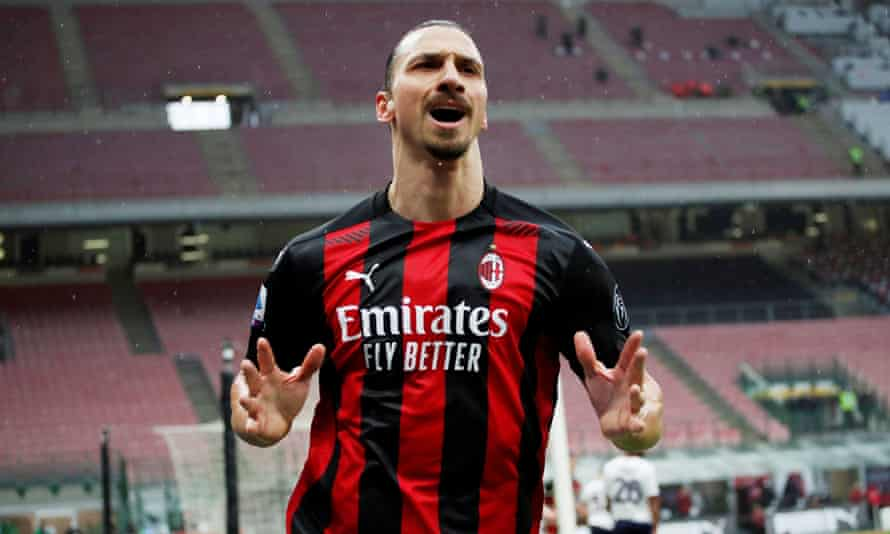 Zlatan Ibrahimovic celebrates after scoring against Crotone in February.