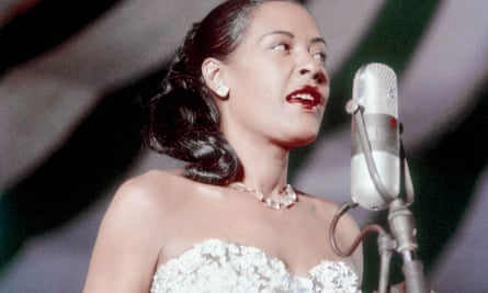 Jazz and blues singer Billie Holiday performs at the Newport Jazz festival in 1957