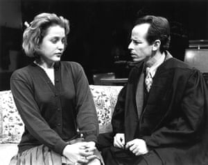 Gillian Anderson and Tim Choate in a scene from Christopher Hampton's play The Philanthropist at the Long Wharf theater, New Haven, Connecticut, in 1992.