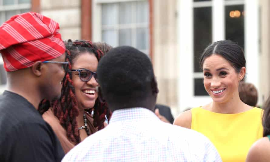 Meghan, Duchess of Sussex meets guests during the Your Commonwealth Youth Challenge reception at Marlborough House